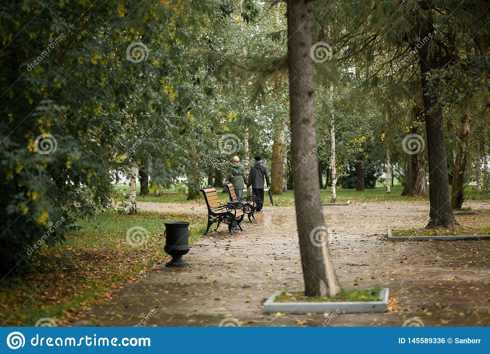 A man and a woman walk in the Park along the path on a cloudy autumn day. Minister of the Church with his wife, holding hands on a