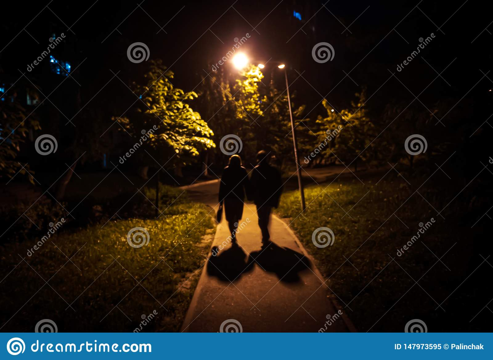 Man And Woman Are Walking Along The Road At Night Stock Image - Image of  nightlife, happy: 147973595