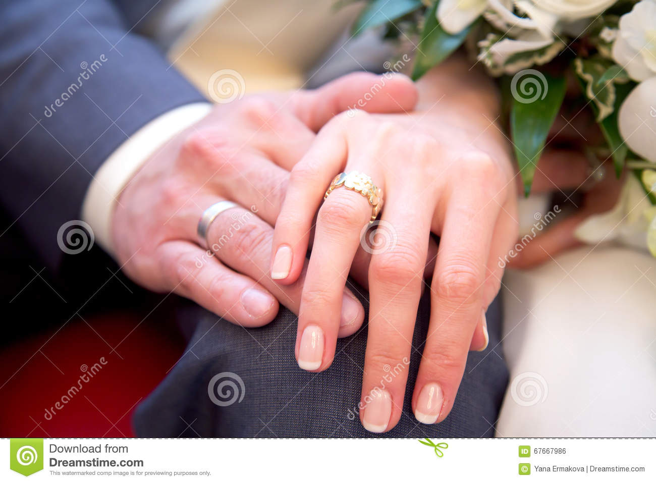 Man And Woman With Wedding Rings Stock Photo - Image of bride ...