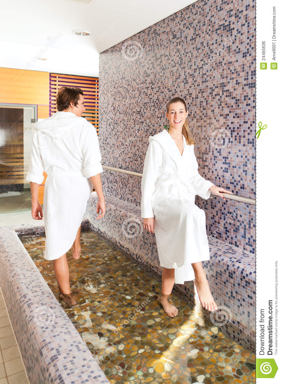 Man and woman while wellness water treading