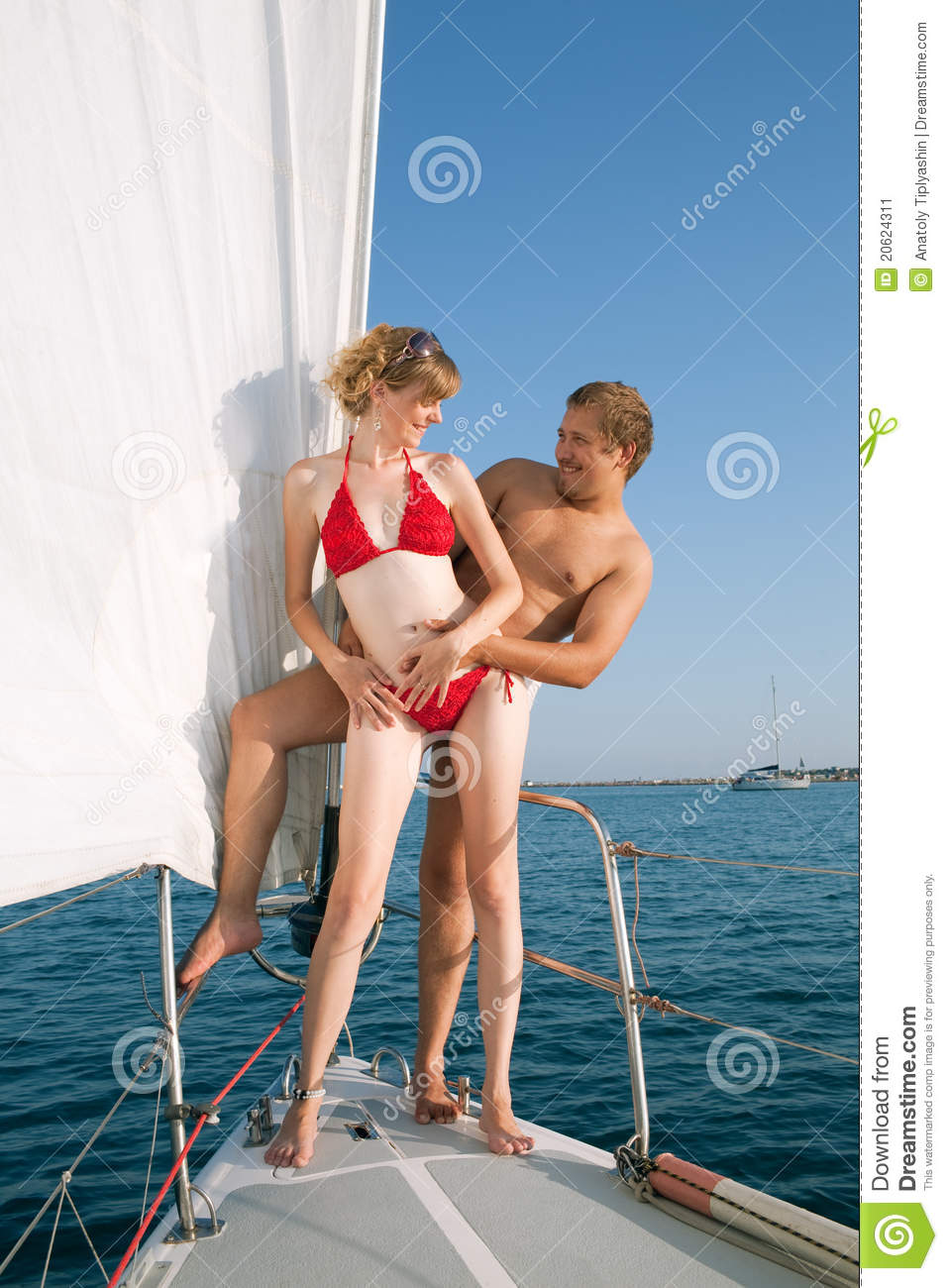 Man and woman on a yacht  A Yacht