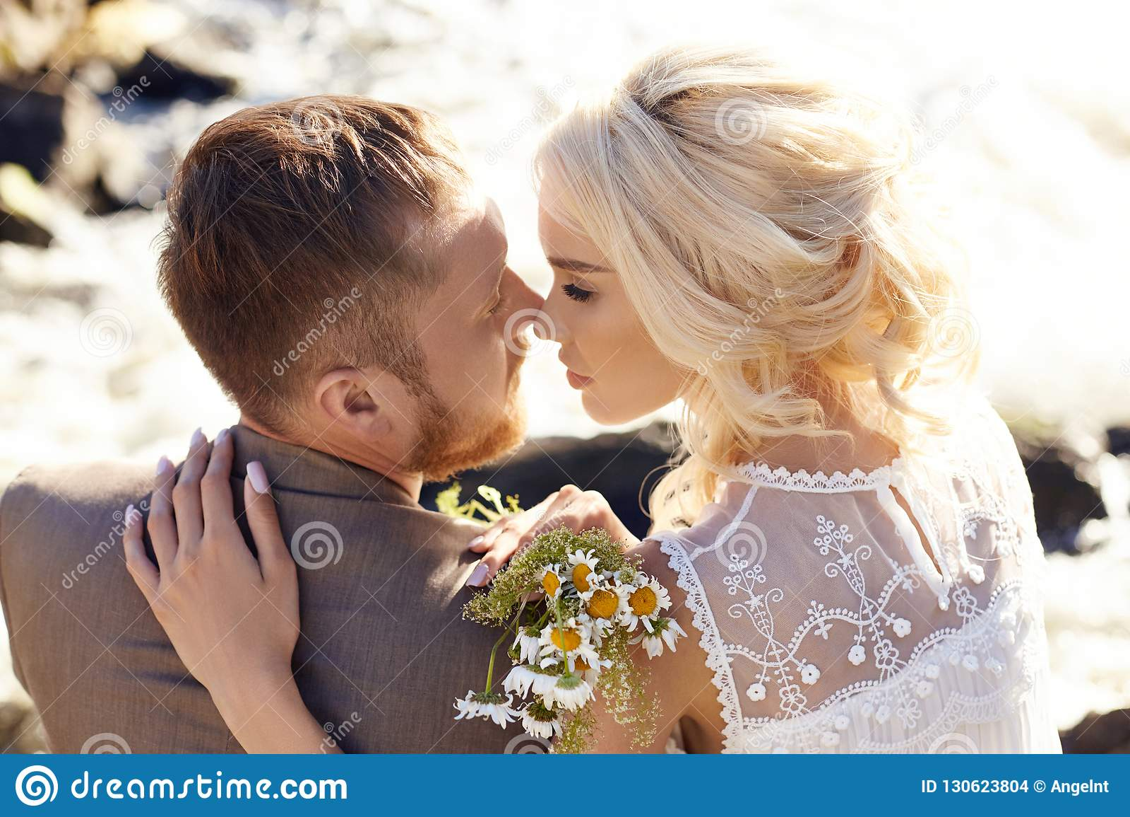 kissing and cuddling