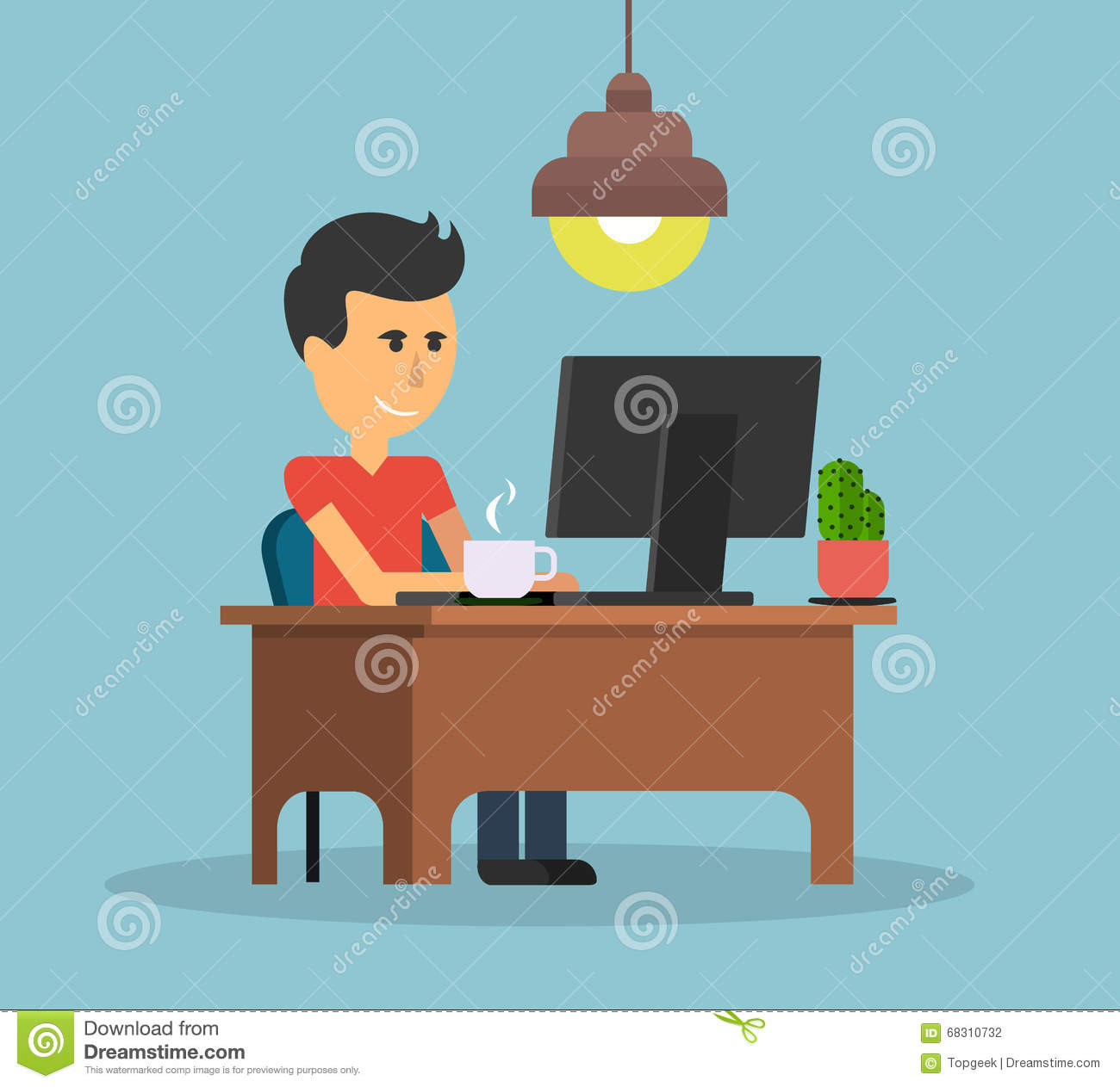 Man work with computer design flat stock vector image for Table design vector