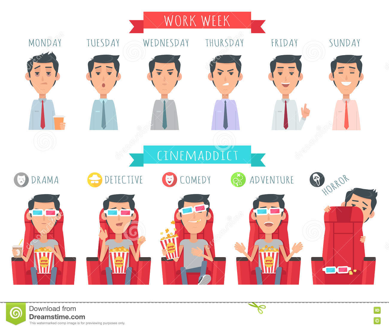 Man During Work Week. Cinemaddict At Cinema Vector Stock ...
