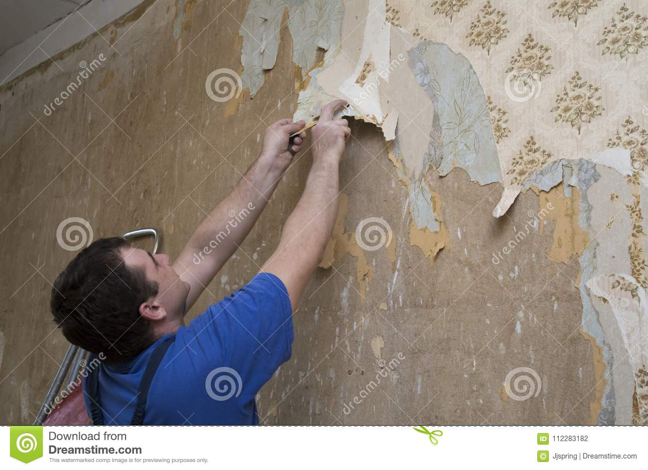 Man Worker Removing Old Wallpaper During Renovation Stock