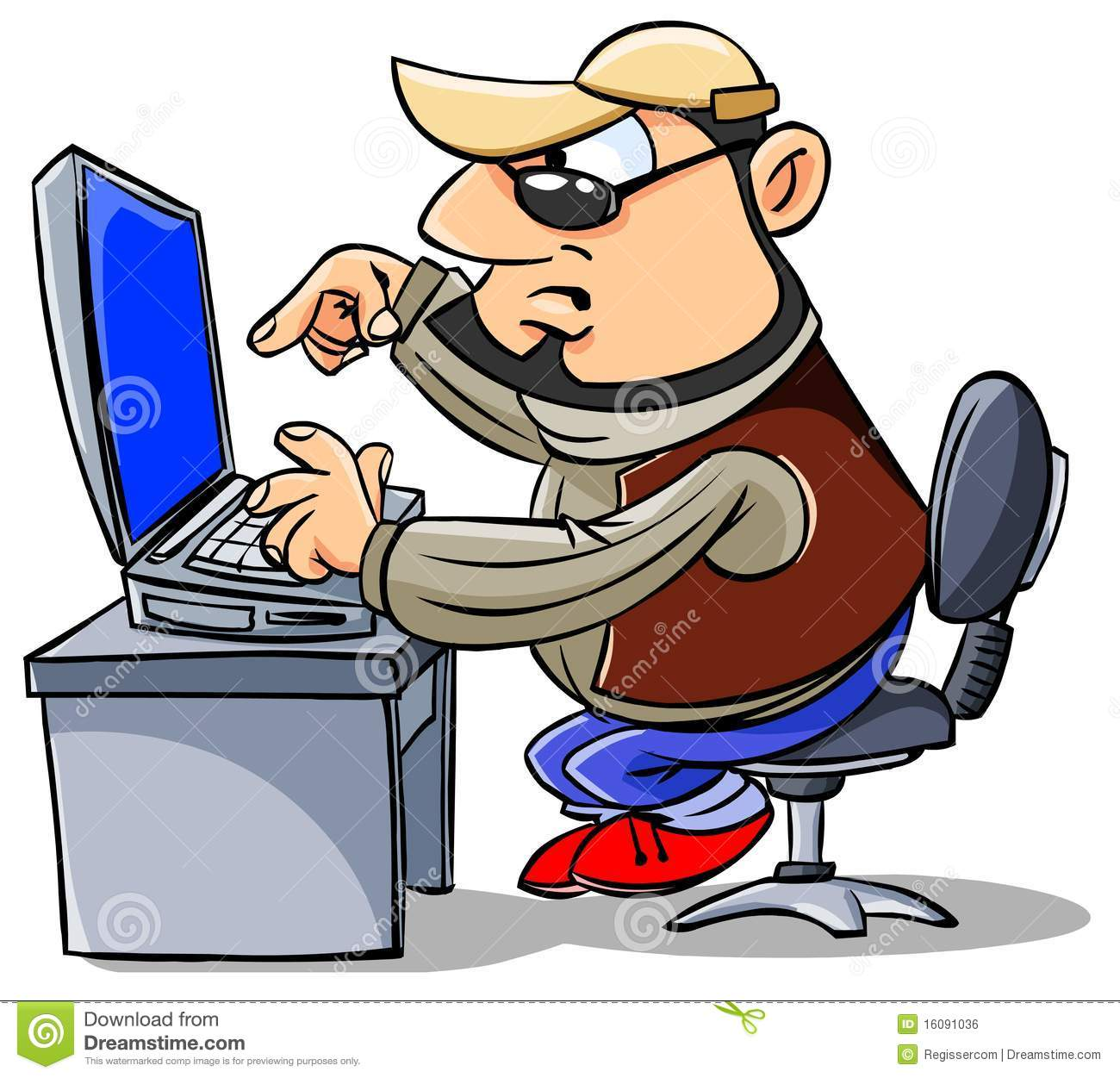 Man Working At The Computer Stock Illustration