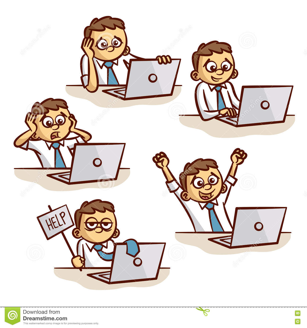 Man Working On Computer Emotions Set Stock Vector ...