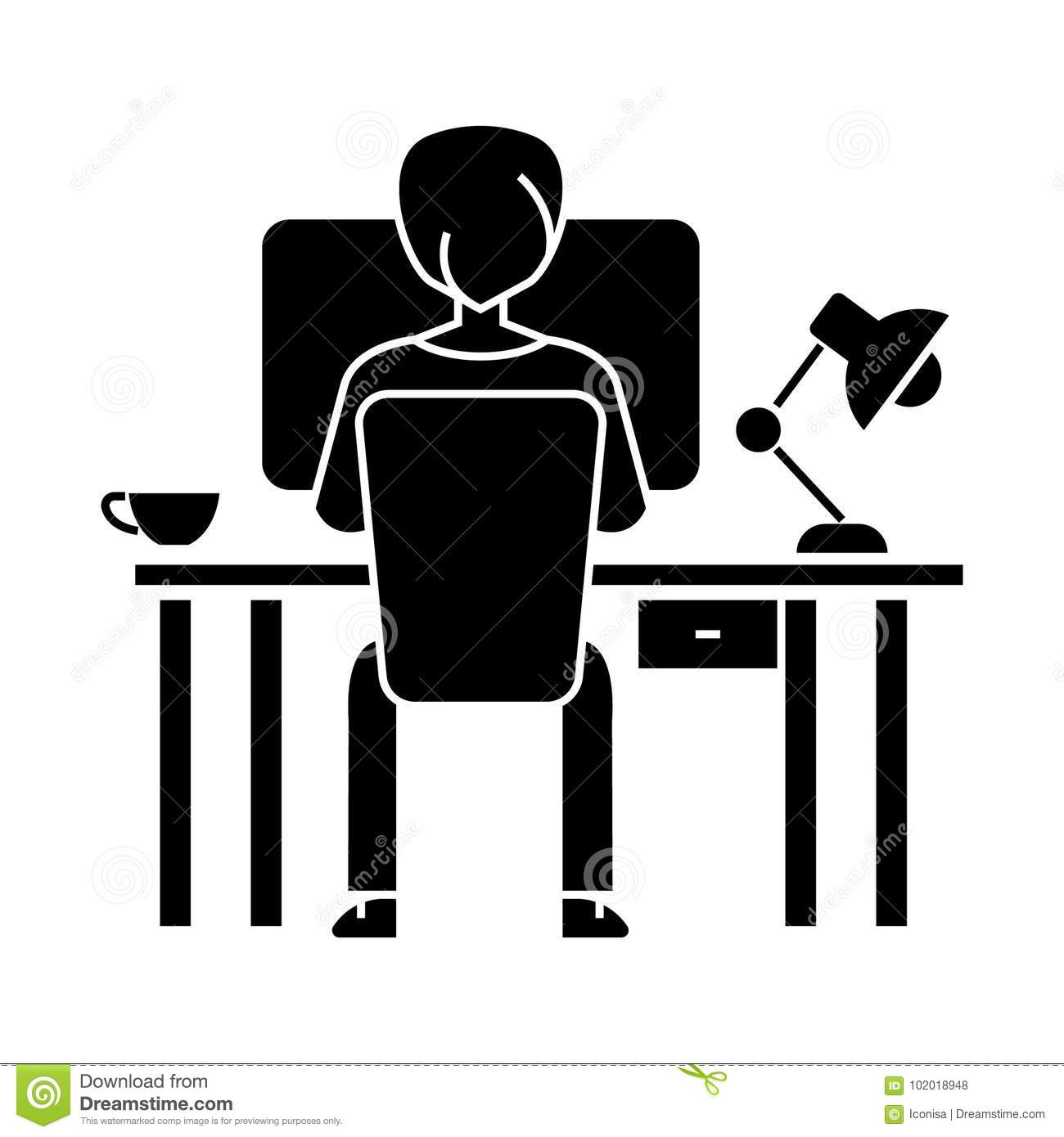 Man working on computer on table sitting back icon vector man working on computer on table sitting back icon vector illustration black sign on isolated background biocorpaavc Images