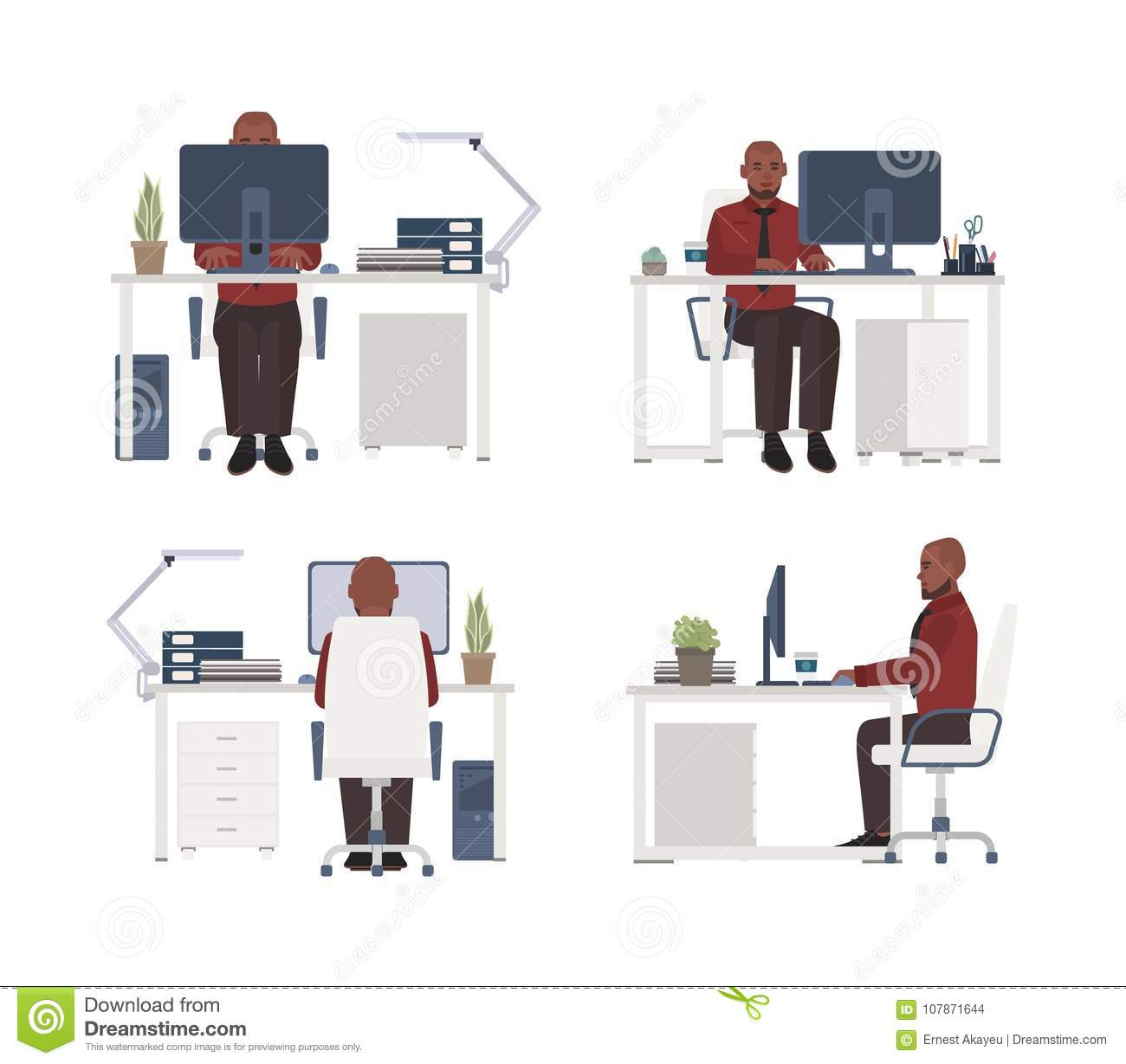 Fantastic Man Working On Computer At Workplace Male Office Worker Creativecarmelina Interior Chair Design Creativecarmelinacom