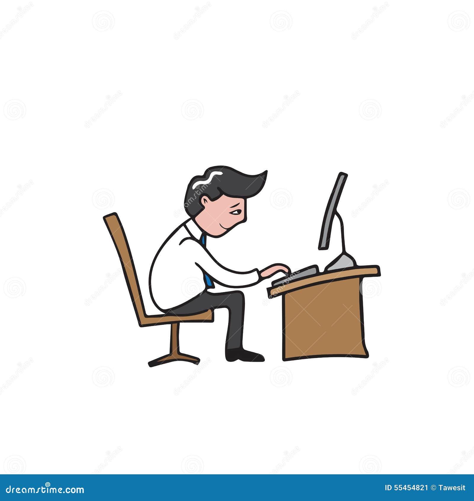 Man Working Desk Stock Vector Illustration Of Business 55454821