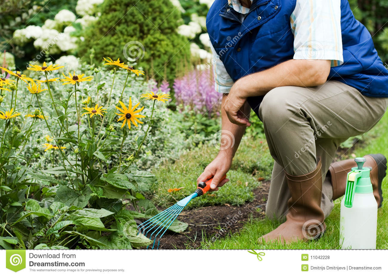 Gardener working in the garden.