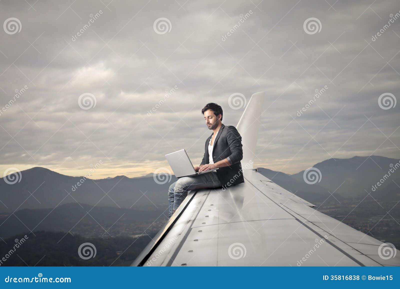 Man Working On His Laptop Royalty Free Stock Photos