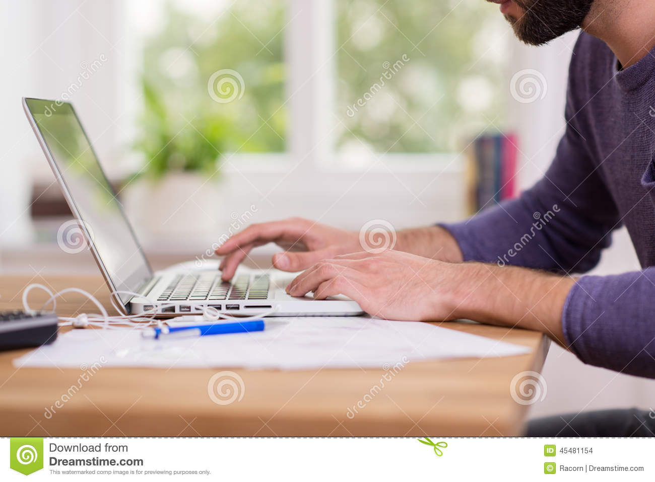 Download Man Working From Home On A Laptop Computer Stock Photo - Image of lifestyle, cropped: 45481154