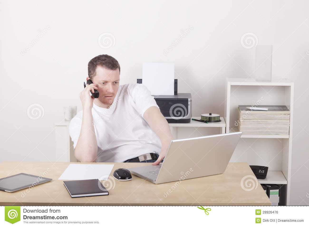 call computer home laptop man office phone working