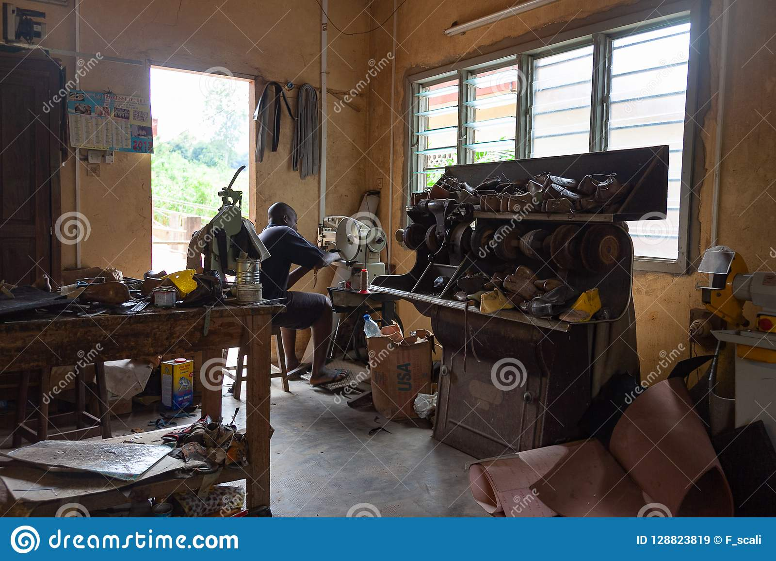 Shoemaker workshop, Benin, Africa