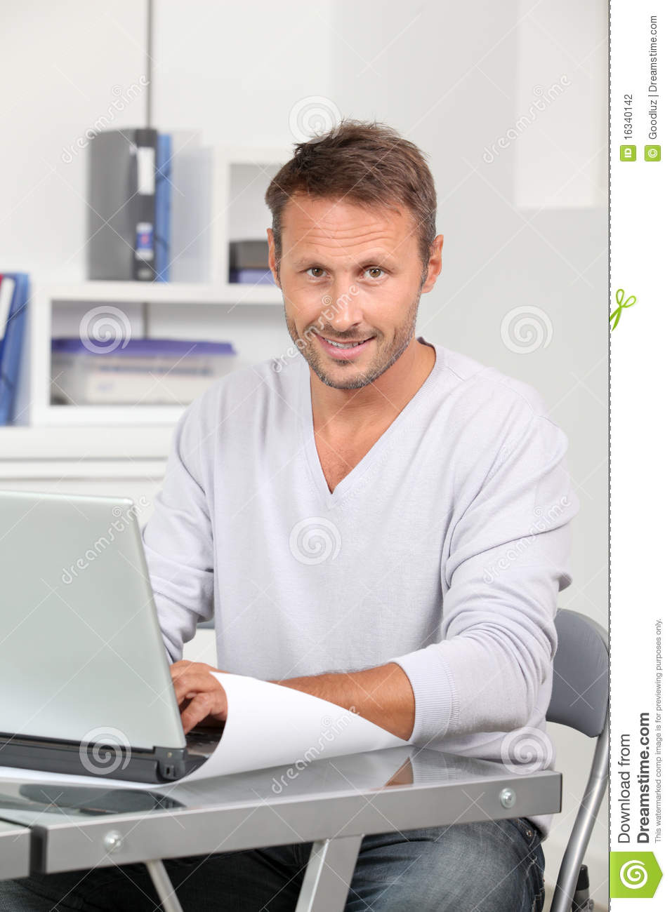 Stock photography man working on laptop computer