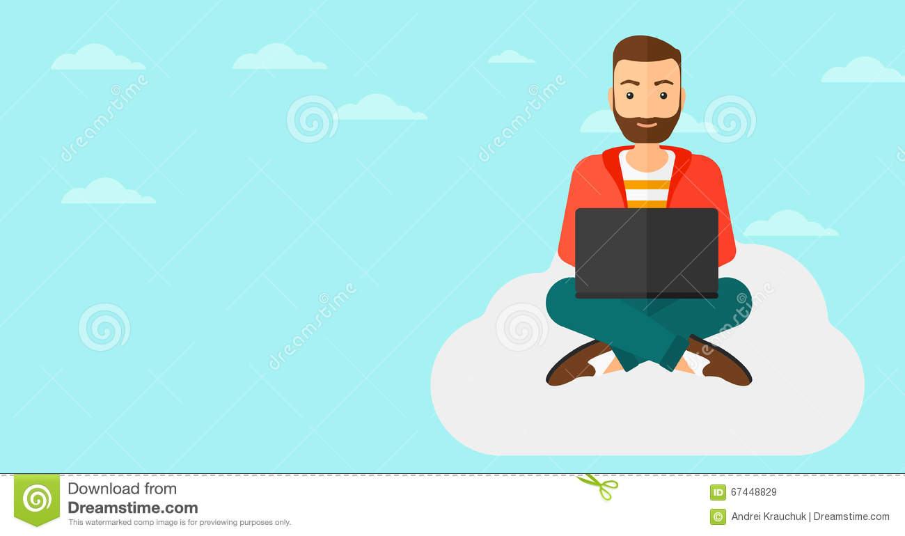Illustration Of Young Hipster Man With Laptop Vector