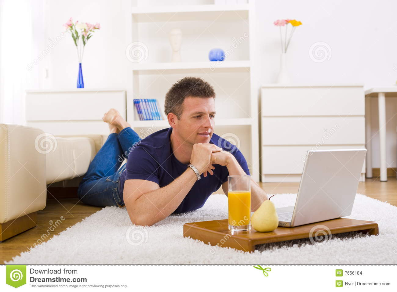 Man Working On Laptop At Home Stock Photo Image Of