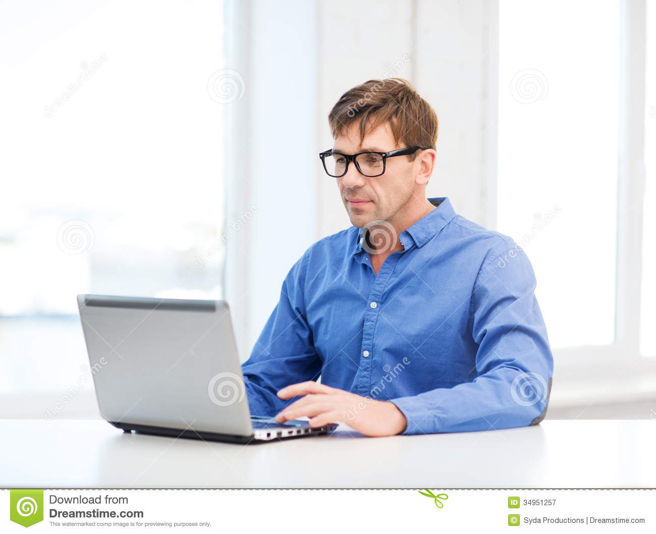 Man Working With Laptop At Home Stock Image - Image of home ...