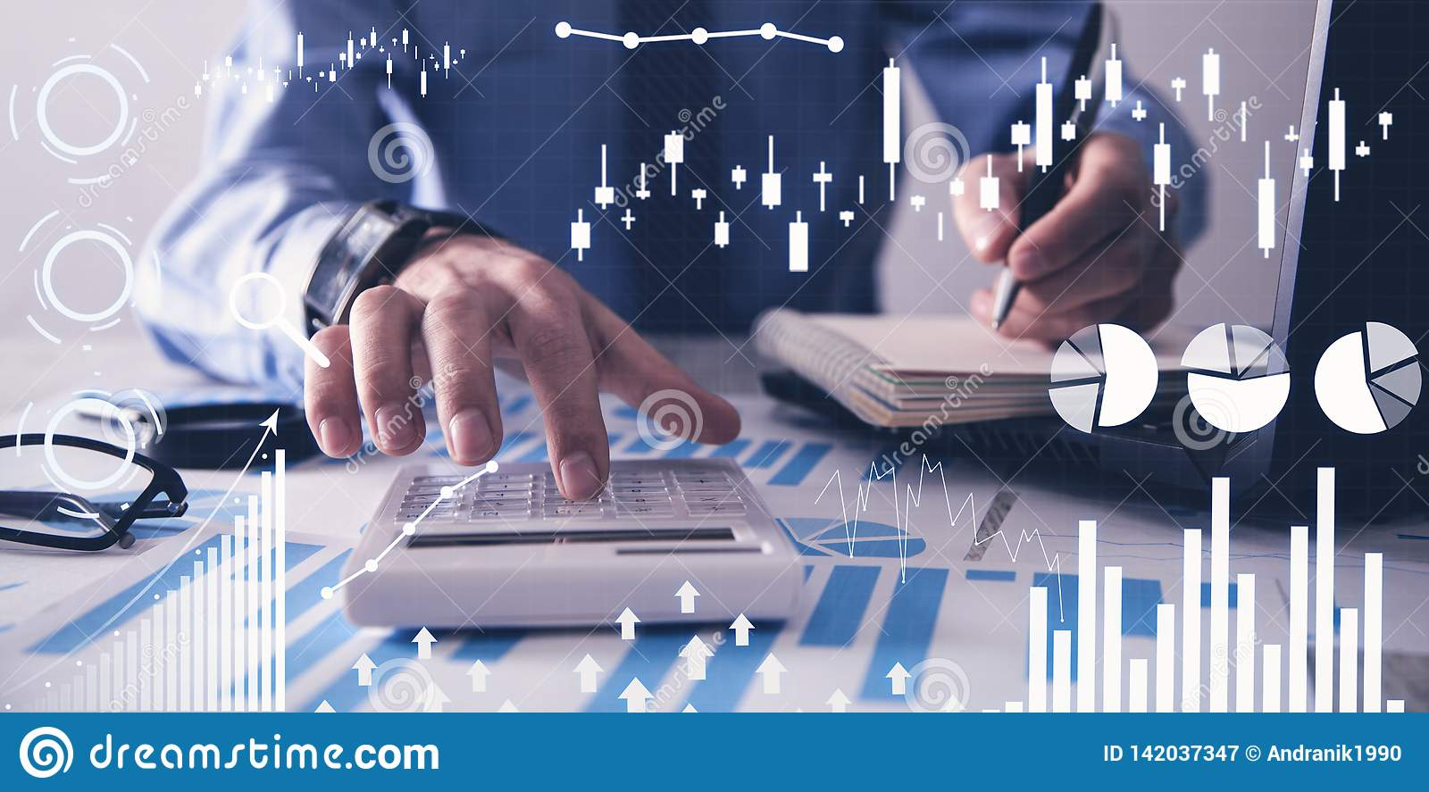 Man working in office. Financial growth graphs. Sales increase