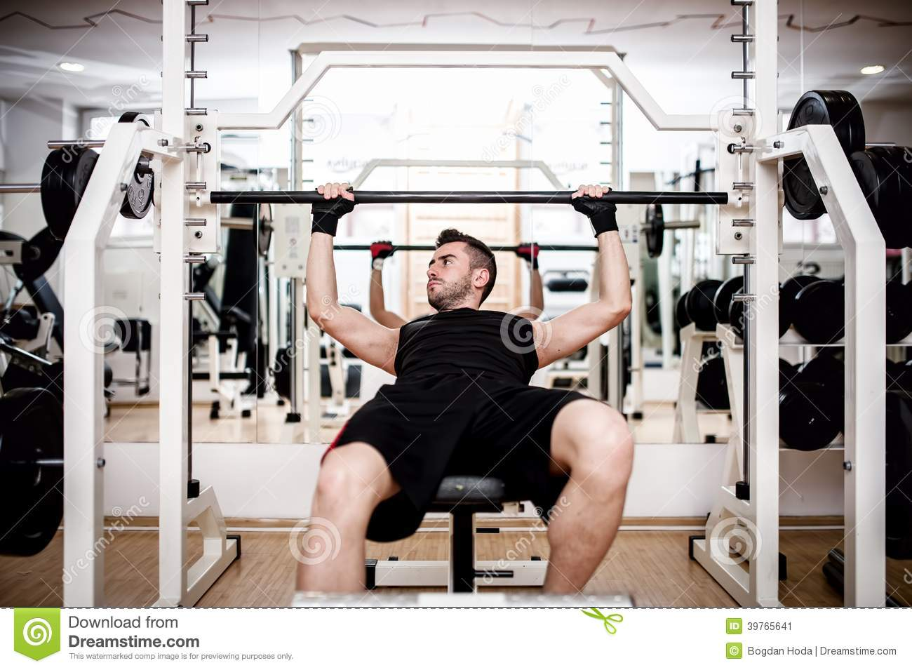 Cool Man Working Out At Gym Chest Bench Press Exercise Stock Ibusinesslaw Wood Chair Design Ideas Ibusinesslaworg