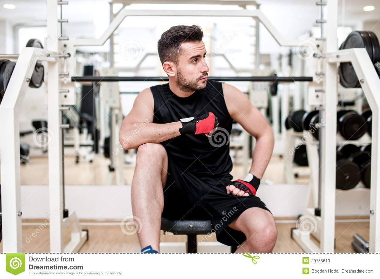 Astounding Man Working Out At Gym Resting At Bench Press Stock Image Ibusinesslaw Wood Chair Design Ideas Ibusinesslaworg