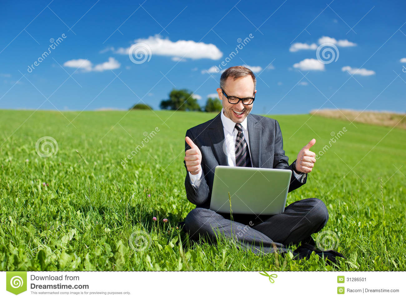 Man Working Outdoors In Nature Stock Image - Image: 31286501