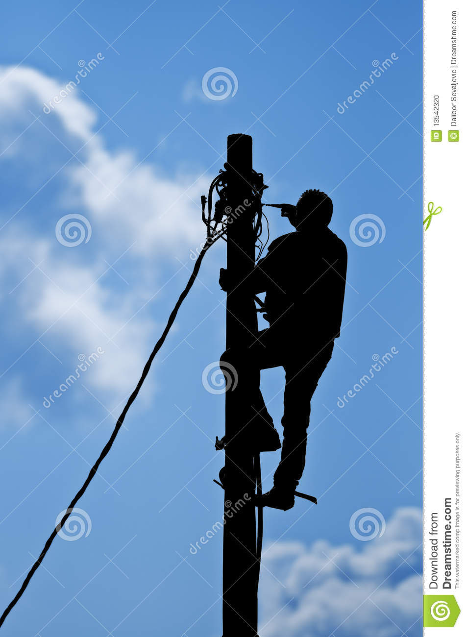 Man Working On Pole Stock Photo Image 13542320