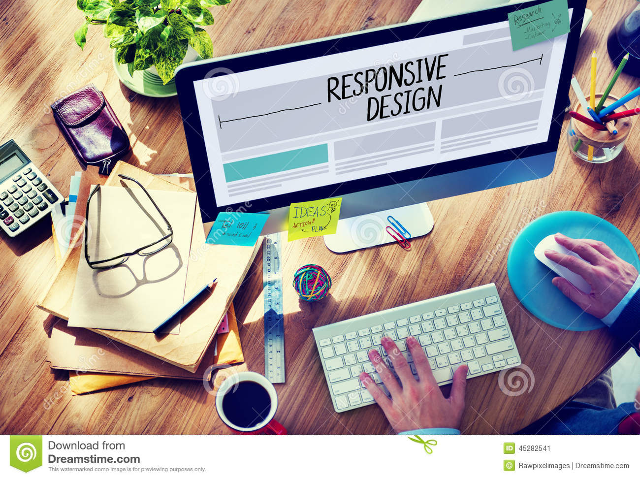 Man Working on a Responsive Web Design