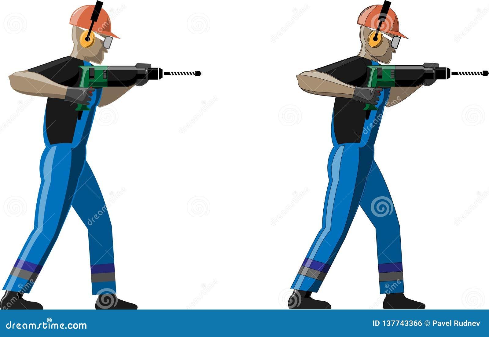 Vector Illustration Hammer: Worker With Hammer Drill. Vector Illustration