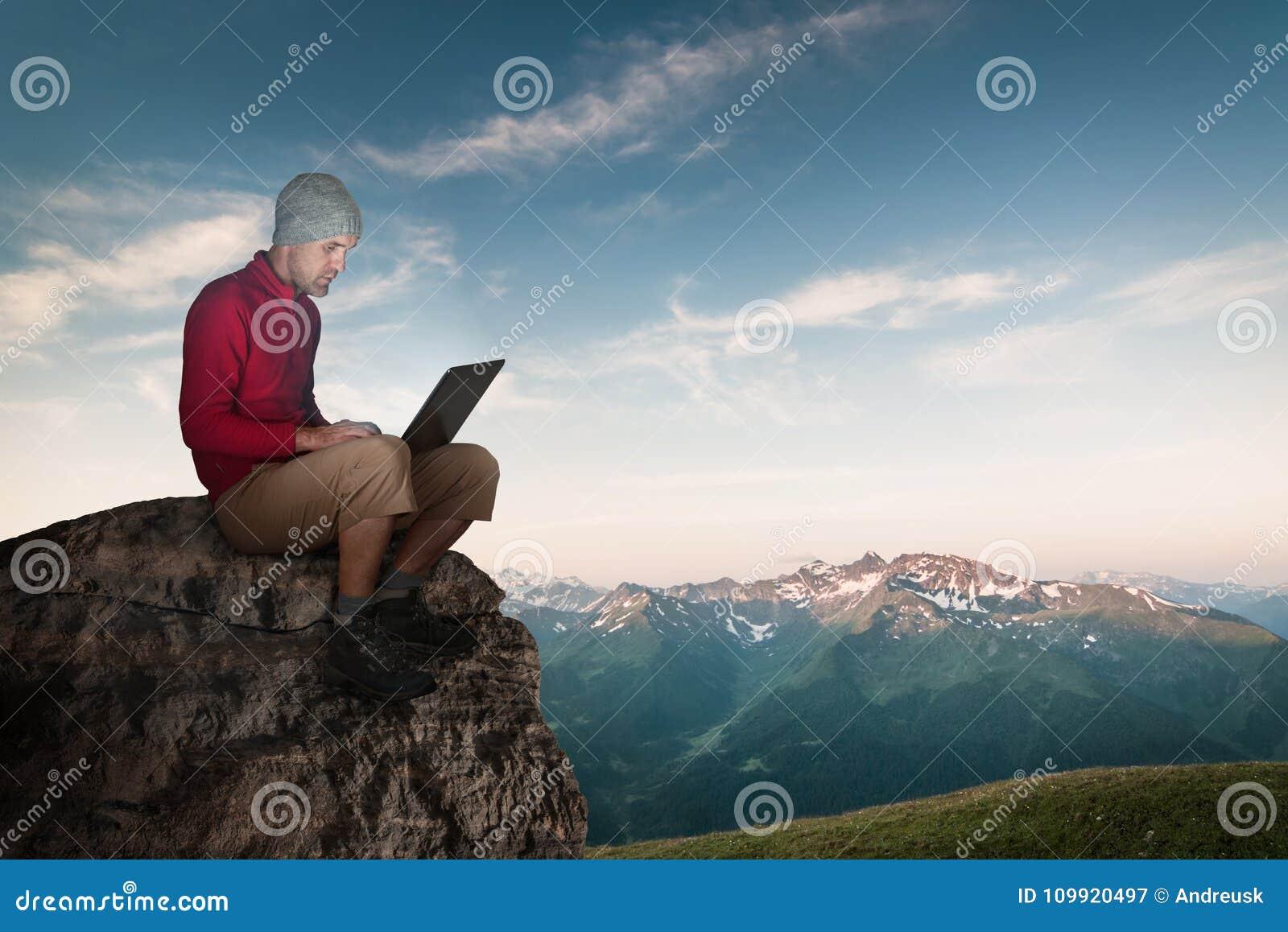 Man working wireless outdoors