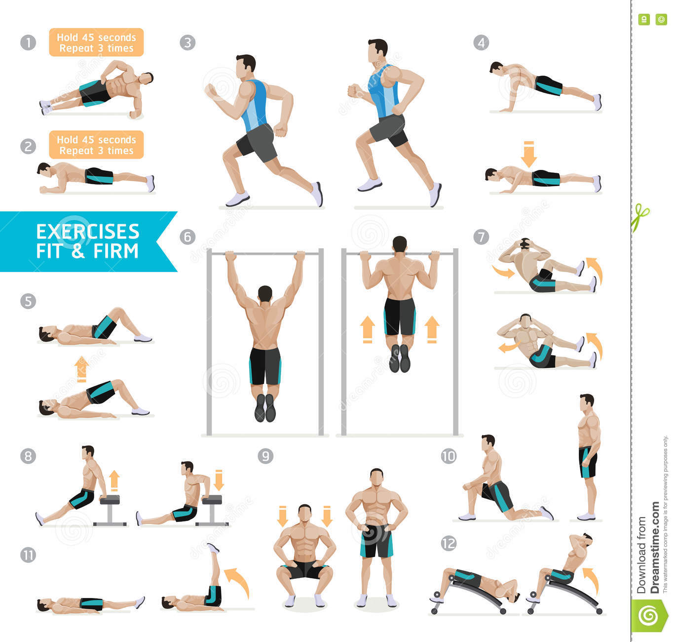 Man Workout: Man Workout Fitness, Aerobic And Exercises. Vector Stock