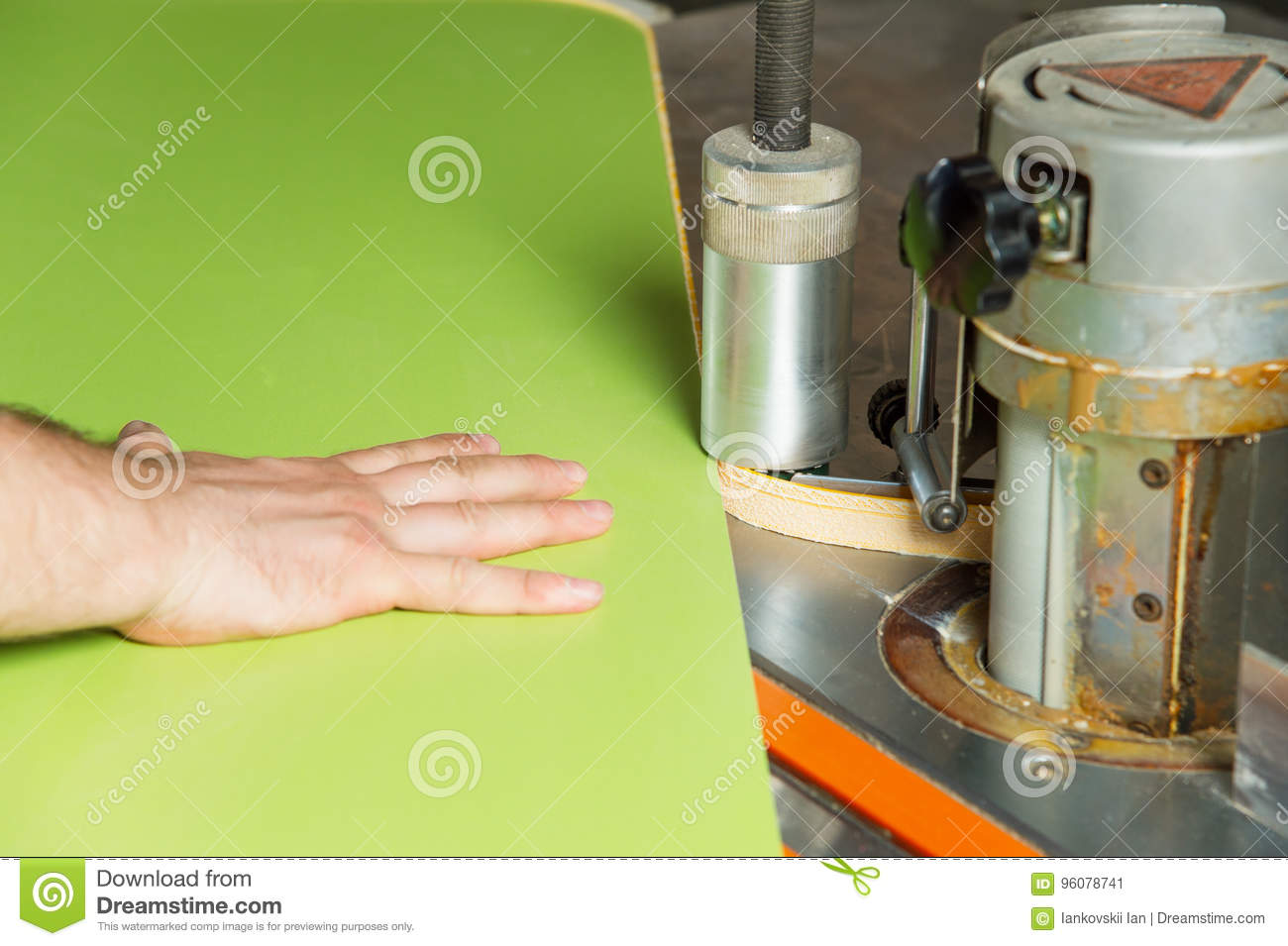 Man Works For Edge Banding Machine Stock Image Image Of