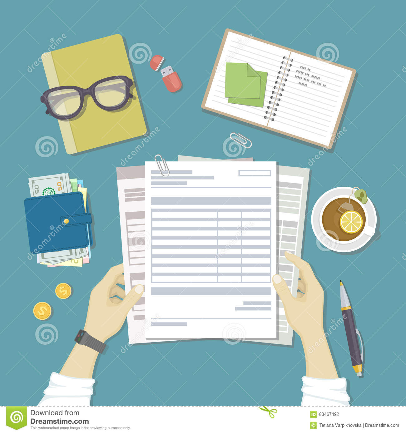 man works with financial documents concept of paying