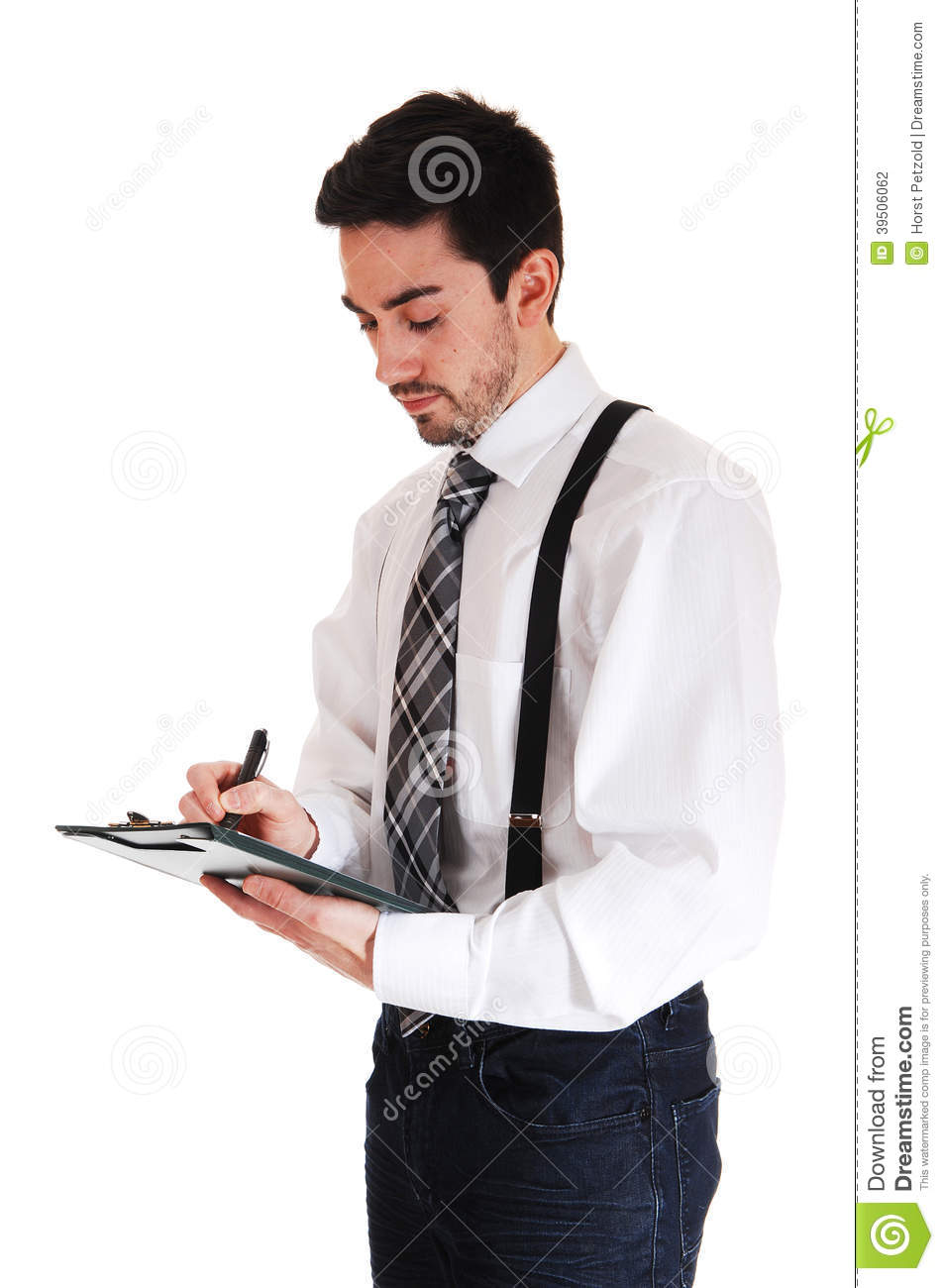Man writing on clipboard.