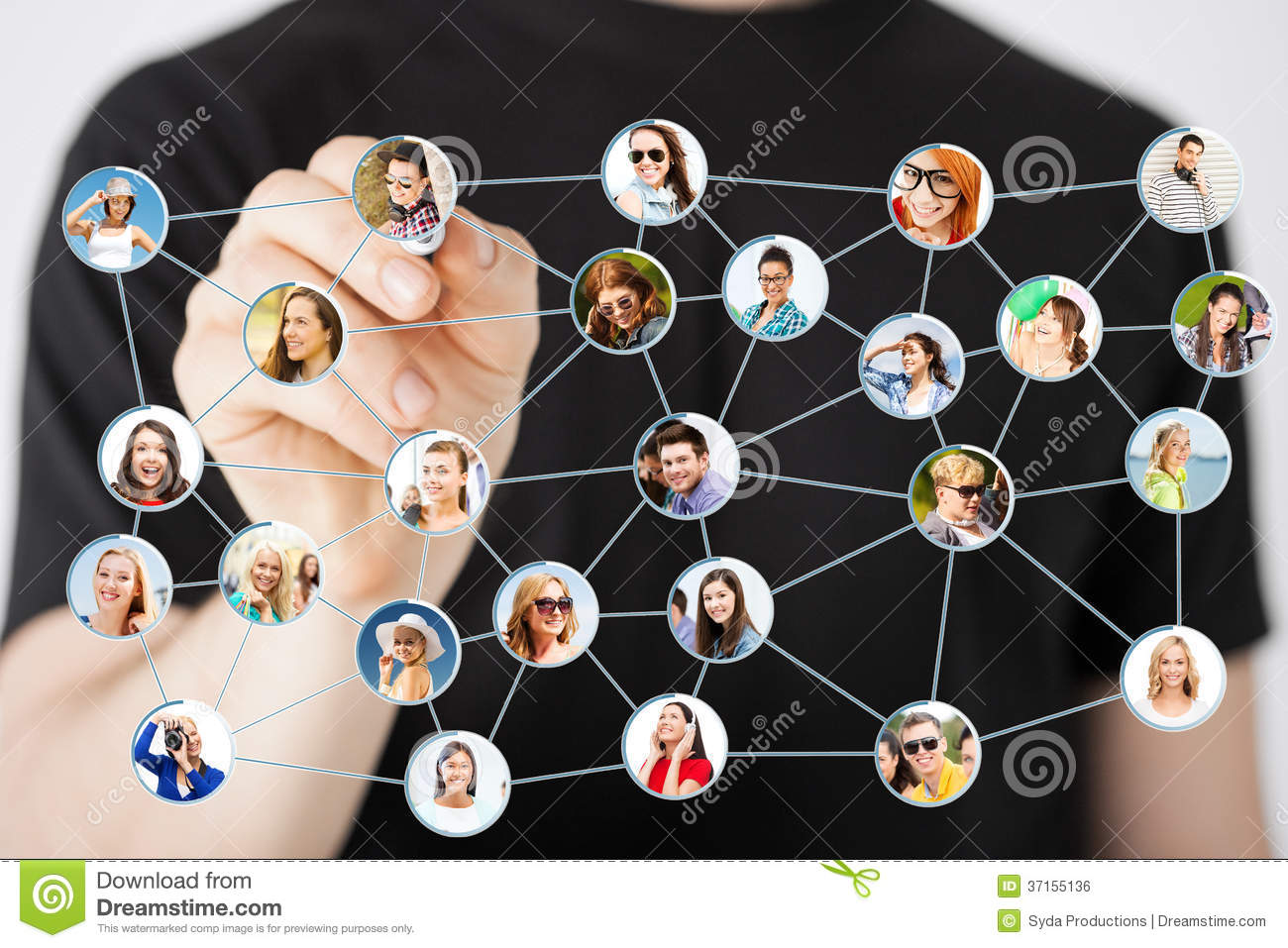 Man Writing Drawing Social Network Stock Photo Image Of Person