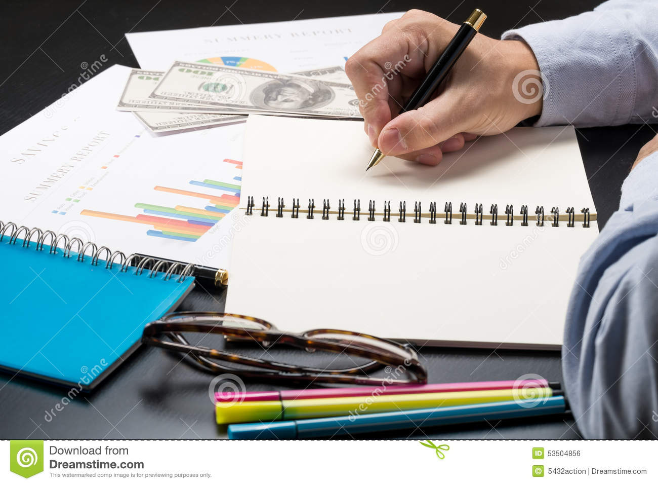 Man Writing Idea For Analysis Business And Financial Report – Financial Analysis Report Writing