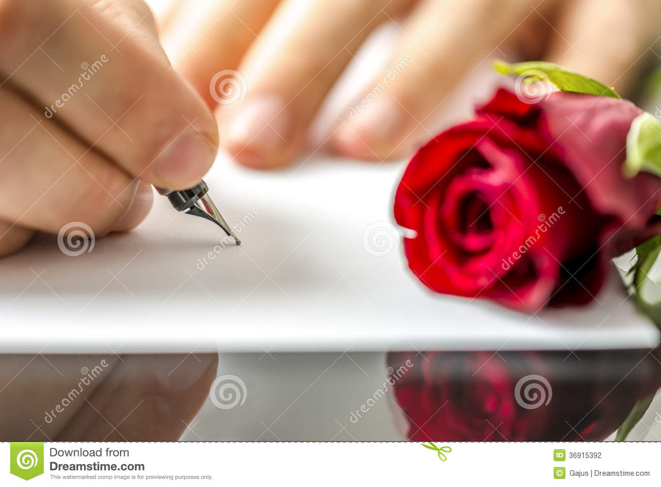 Romantic Man Writing A Love Letter Stock Image  Image Of Dating