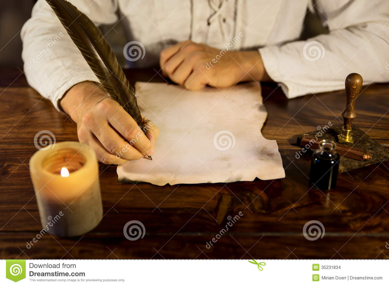 Man Writing On A Parchment Stock Images Image 35231834