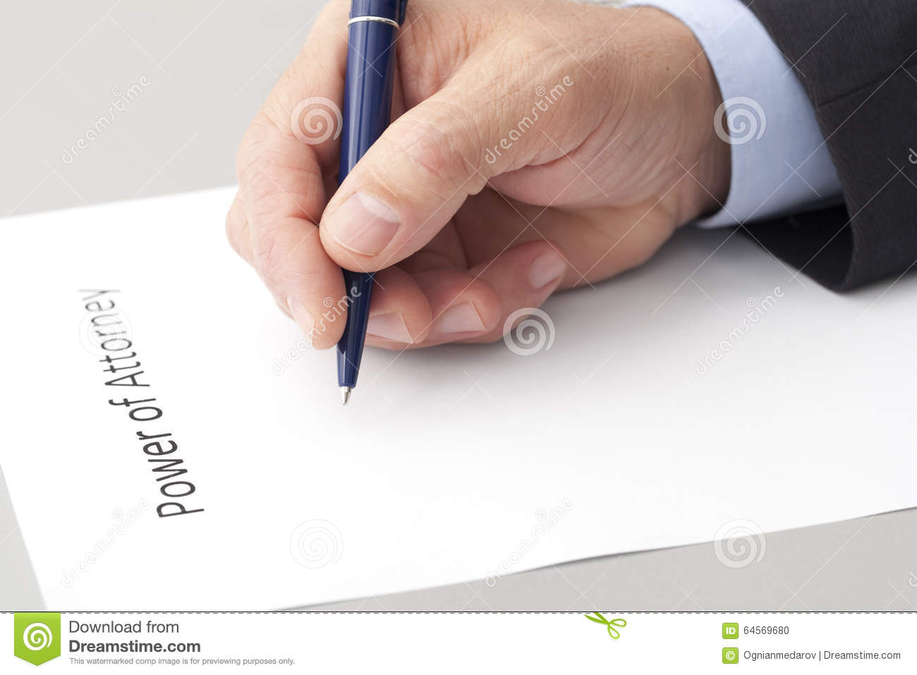 man writing a power of attorney stock photo  image of