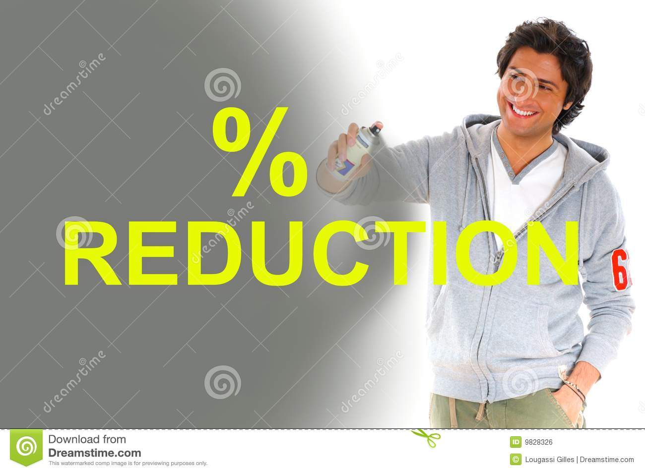 Man writing reduction prices