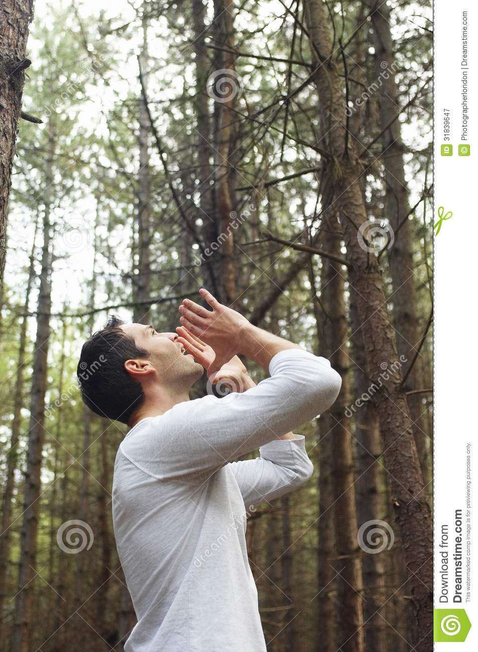 Man Yelling All Alone In Woods