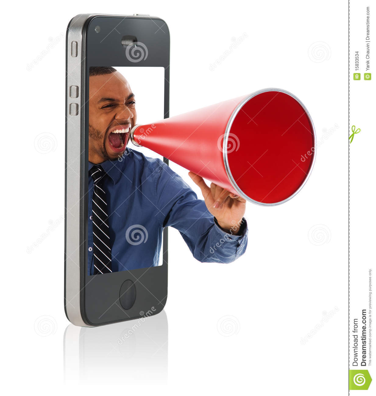 Man yelling in megaphone