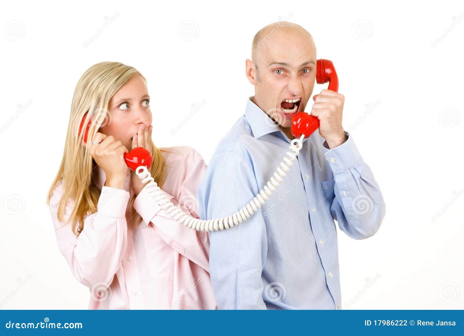 Man Yelling On Telephone Stock Photography