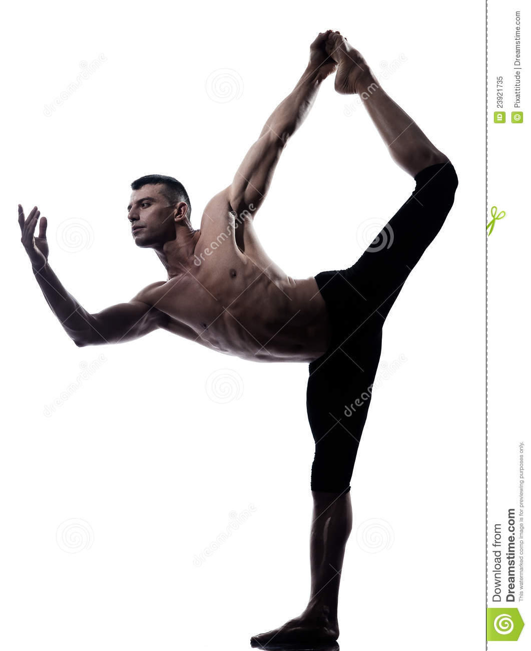 Download Man Yoga Asanas Natarajasana Dancer Pose Stock Image
