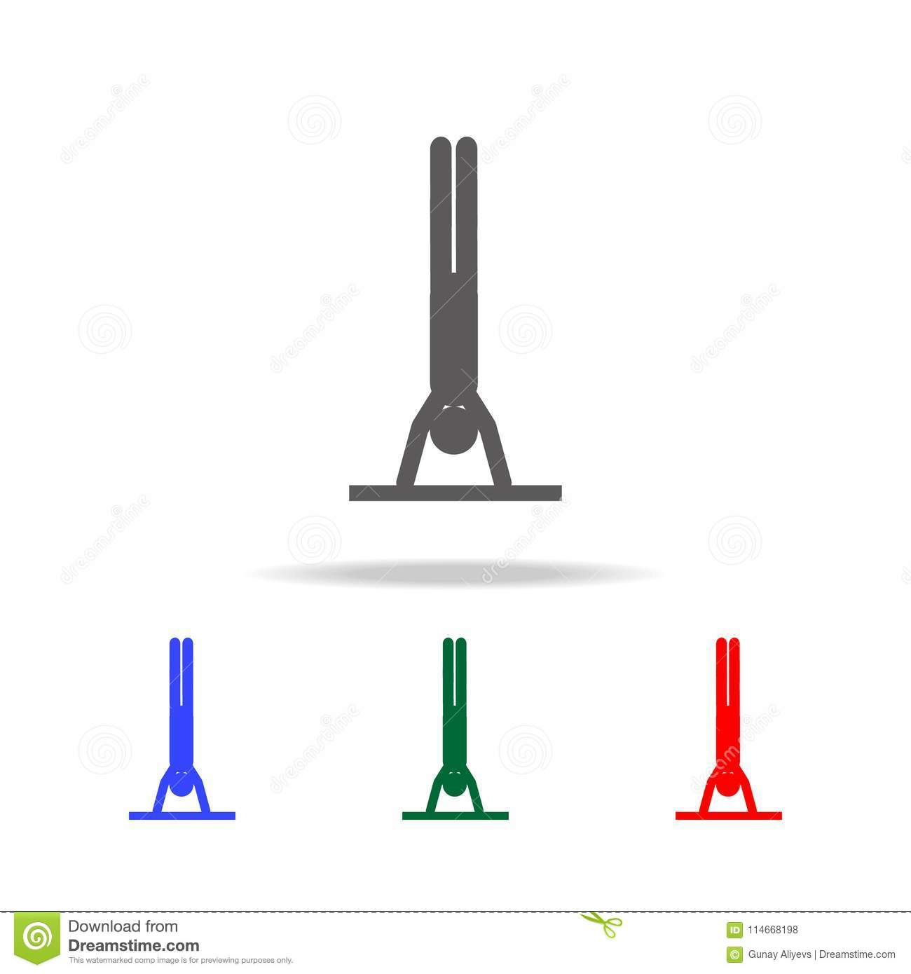 Man In A Yoga Pose Icon  Elements Of Indian Culture Multi Colored