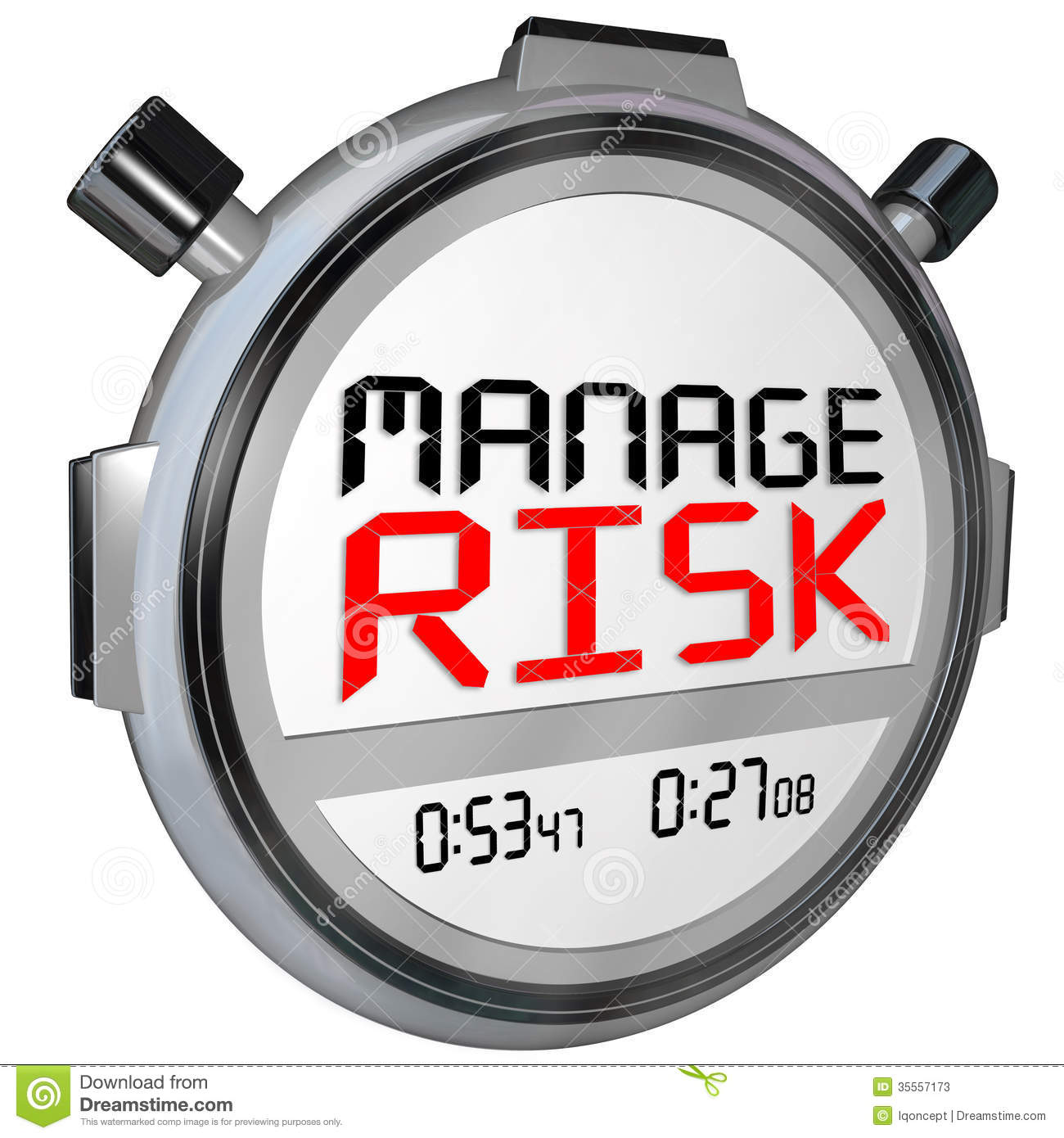 Manage Your Opportunities Be: Manage Risk Now Stopwatch Timer Speed Stock Illustration