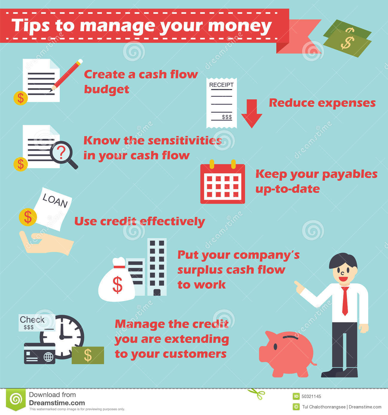 Manage Your Money Infographics Stock Vector