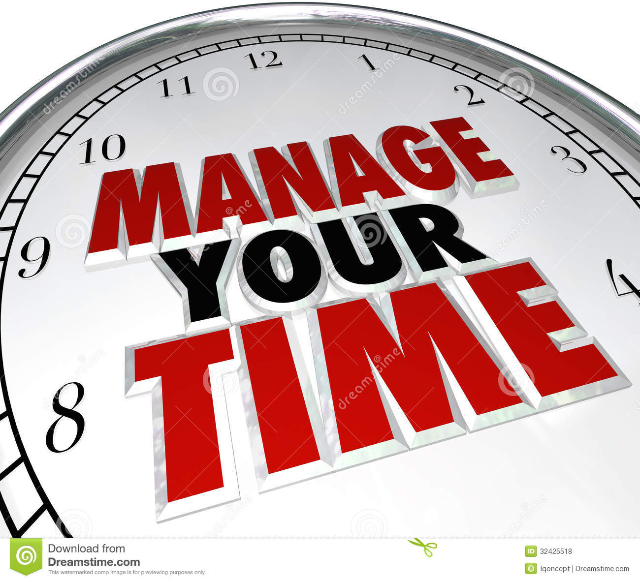 Manage Your Time Words Clock Management Efficiency Royalty Free Stock ...