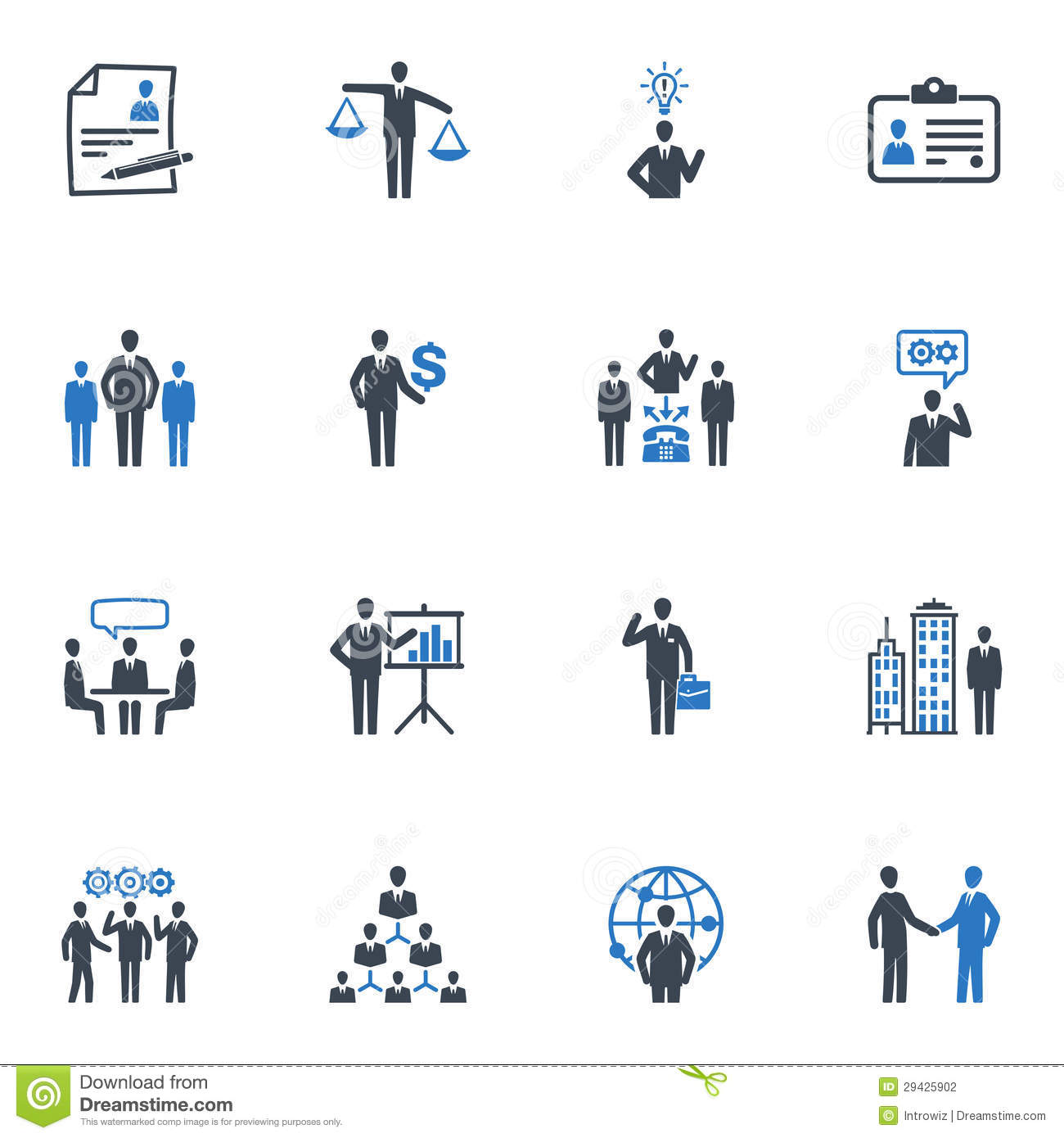Management And Human Resource Icons Blue Series Stock
